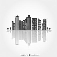 带有反射的城市黑色轮廓