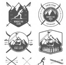 复古滑雪元素标签矢量素材